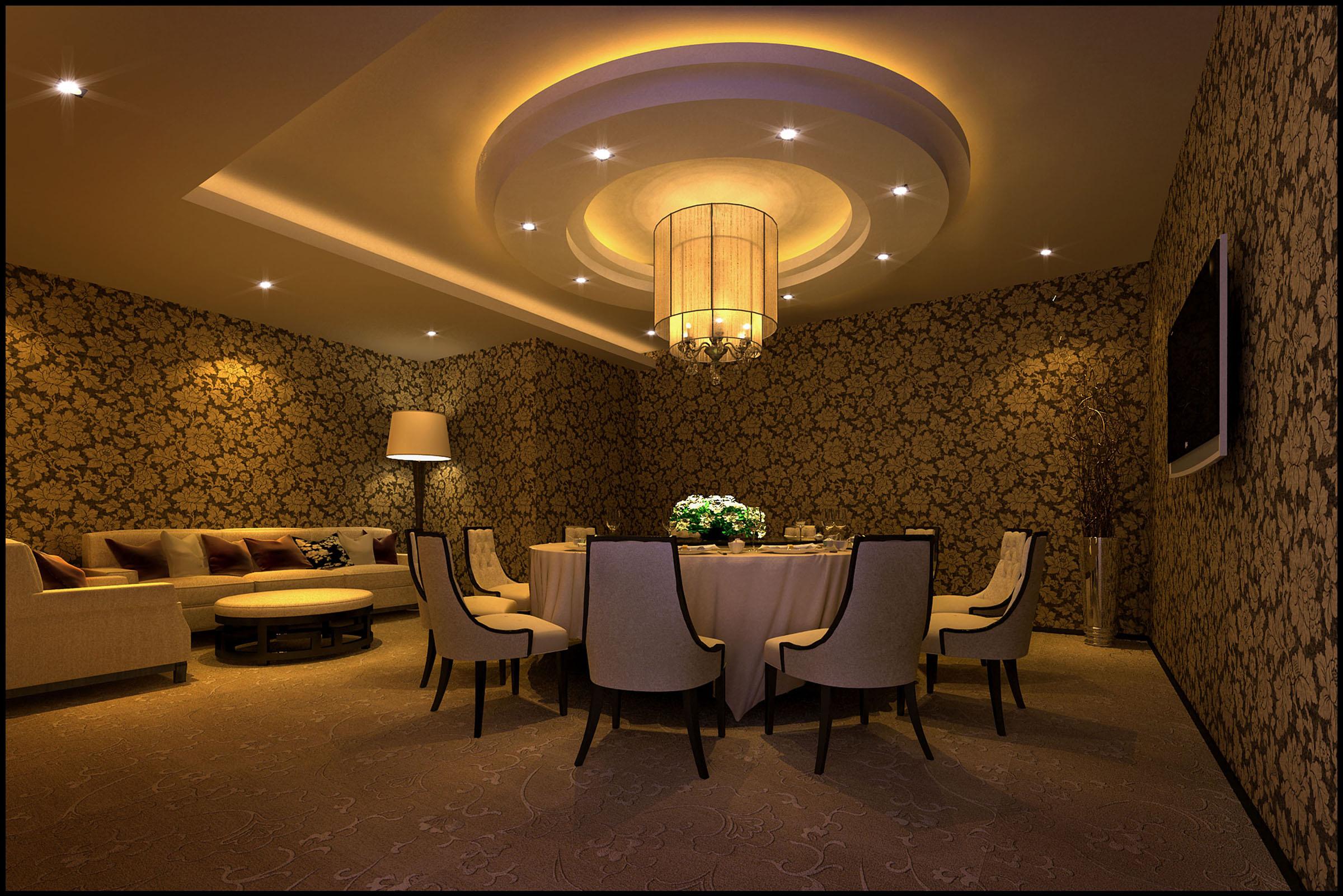 餐厅设计要素   1、餐厅设计顶面----应以素雅、洁净材料做装饰,如漆、局部木制、金属,并用灯具作衬托,有时可适当降低吊顶,可给人以亲切感。   2、墙面----齐腰位置考虑用些耐磨的材料,尽量选择环保无害材料,如选择一些木饰、玻璃、镜子做局部护墙处理,而且能营造出一种清新、优雅的氛围,以增加就餐者的食欲,给人以宽敞感。   3、地面----选用表面光洁、易清洁的材料,如大理石、地砖、地板,局部用玻璃而且下面有光源,便于制造浪漫气氛和神秘感。   4、餐桌----方桌、圆桌、折叠桌、不规则型,不同的桌子