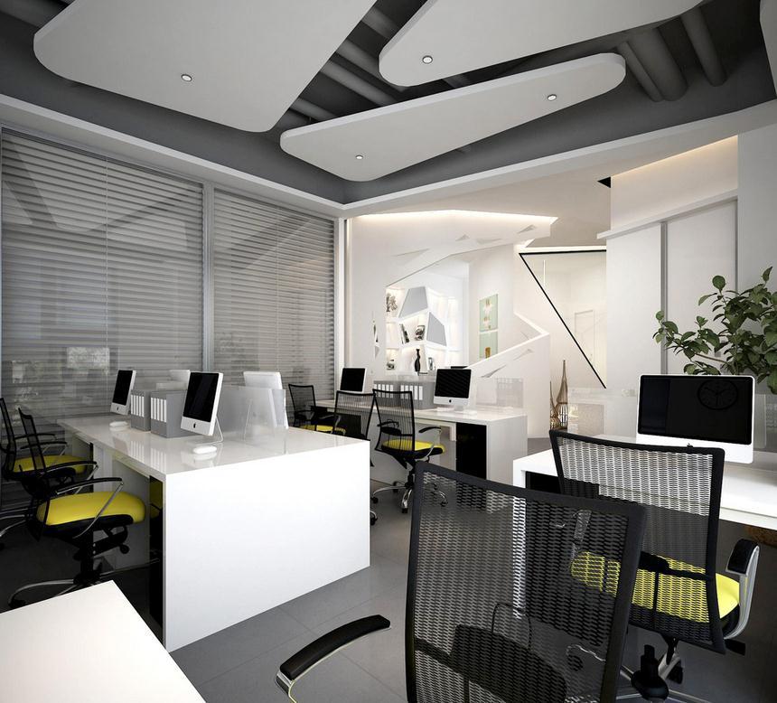无锡办公室装修设计本着以人为本的办公室设计理念,办公室设计风格为现代时尚风格为主,办公地面主要采用的是雅士咖啡色大理石及黑金花波打线。吊顶的设计主要采用中式木饰面来装饰,采用现代木花格来凸显办公空间的韵味。 中间柱子采用的是大理石包柱,高端大气上档次,灯光要以中性偏暖色调为主,从而体现出温馨高档的氛围 。