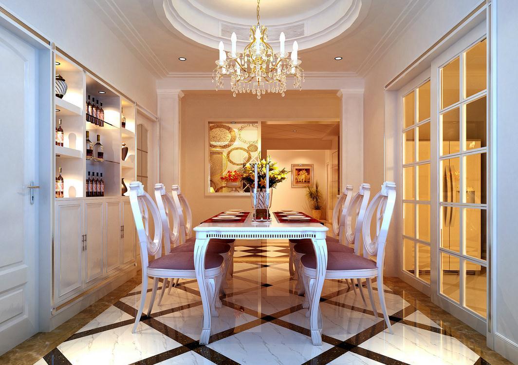 滨湖区家庭时尚餐厅装修设计打破传统的餐桌形式,以吧台的方式展现,坐在吧台凳上用餐是什么感觉呢?墙面大幅的方向盘图片,父亲肯定是个车迷。黑色橱柜与白色墙面形成黑白配。 全开放式的设计,把休闲娱乐区和厨房相连接,既可以吃饭,又是文娱的重要场所。时尚造型的桌椅和窗下的沙发软座,吃饭时间享受的事。