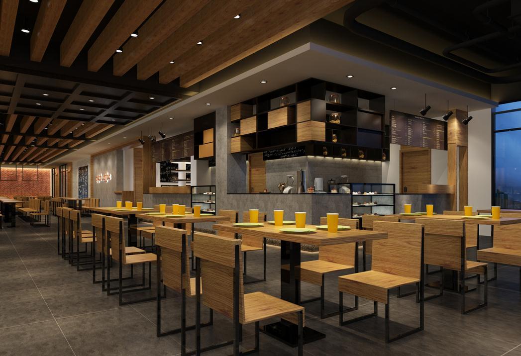 一,创意型奶茶店装修风格        创意的吊顶,简约的桌椅,店