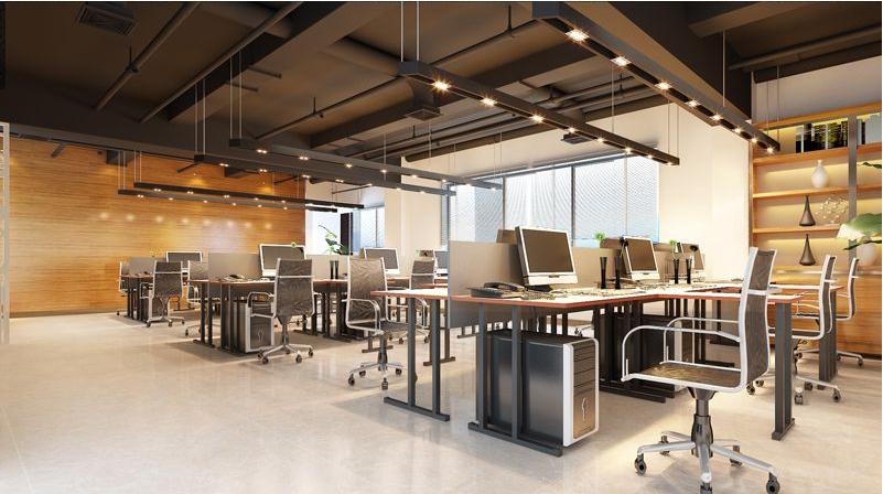 工作位放在大面的办公室中,这样的活动空间是足够,却有点空旷和萧条.